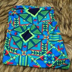 BOGO Lularoe Neon Blue Green Aztec Print Leggings